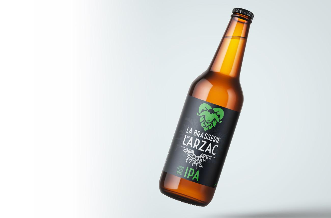 Design d'étiquette pour la bière IPA de la brasserie du Larzac