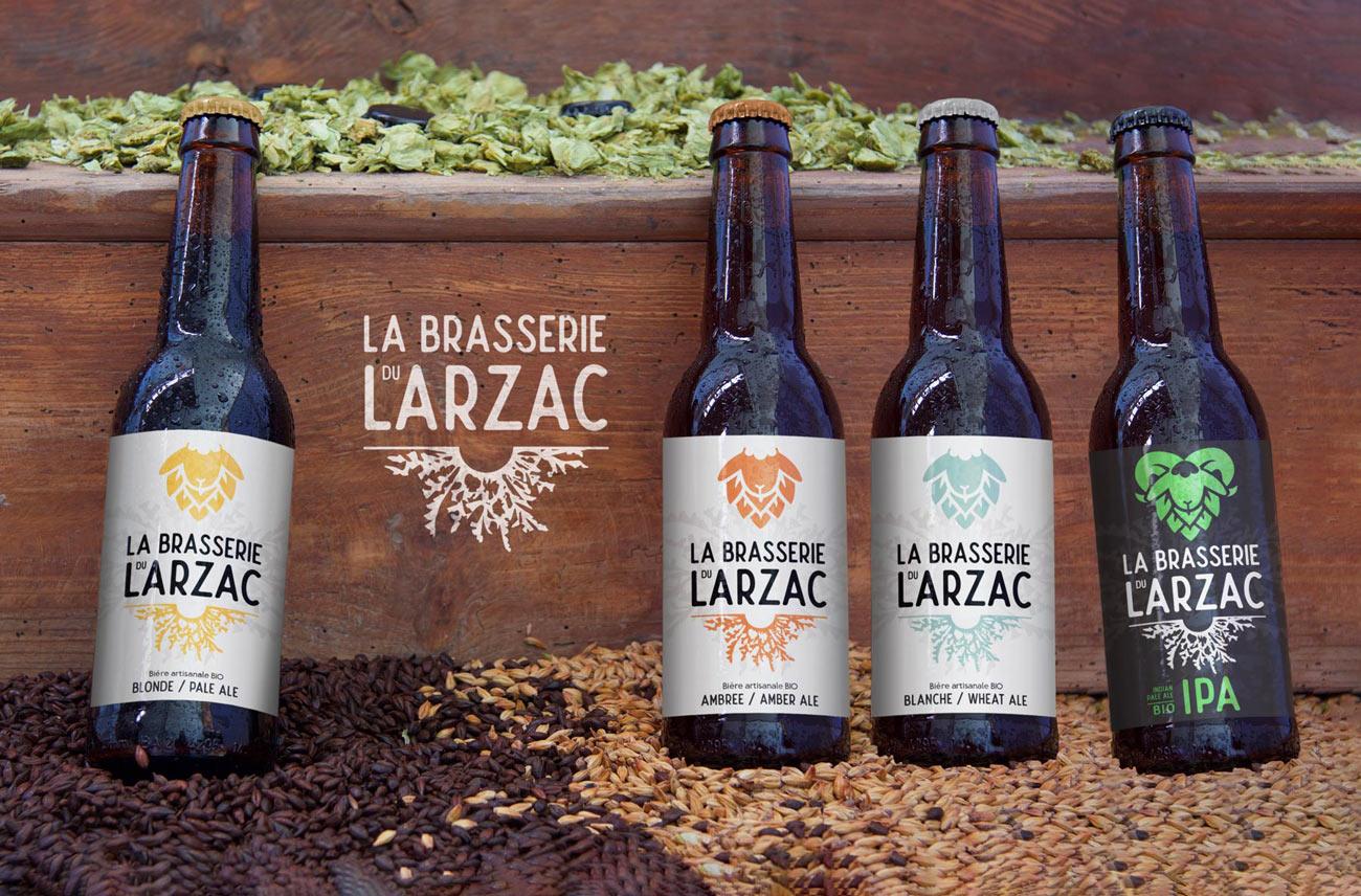 Étiquettes des bières blonde ambrée blanche et IPA - Brasserie du Larzac