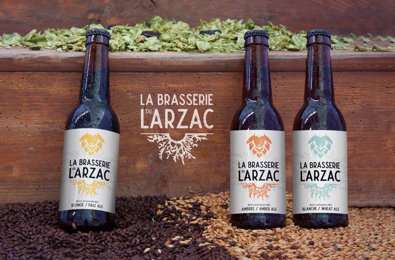 Design des étiquettes de bière de la brasserie artisanale du Larzac