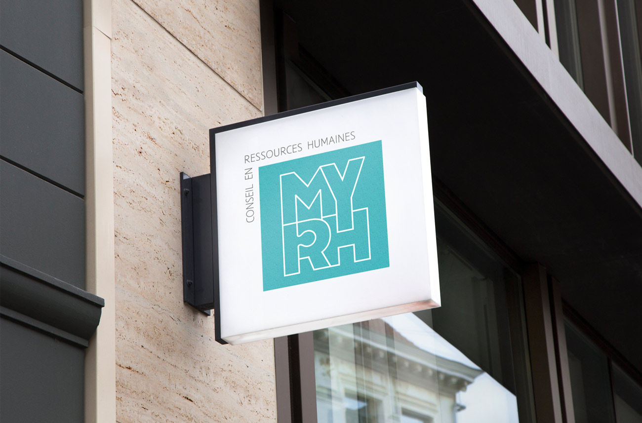 Enseigne présentant le logo typographique de My RH, conseillère en ressources humaines