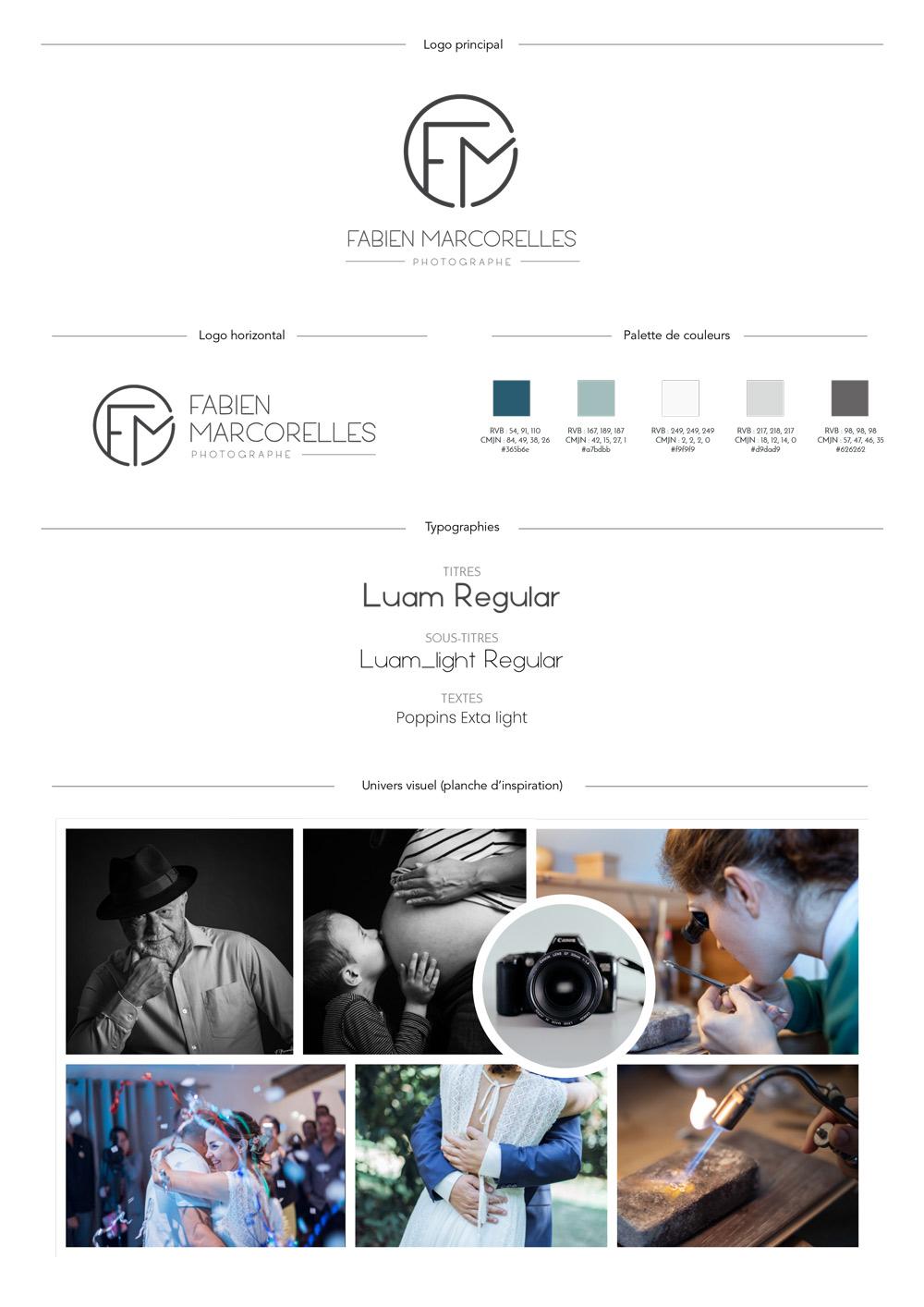 Brand board du studio photo de Fabien Marcorelles, résumé de la charte graphique