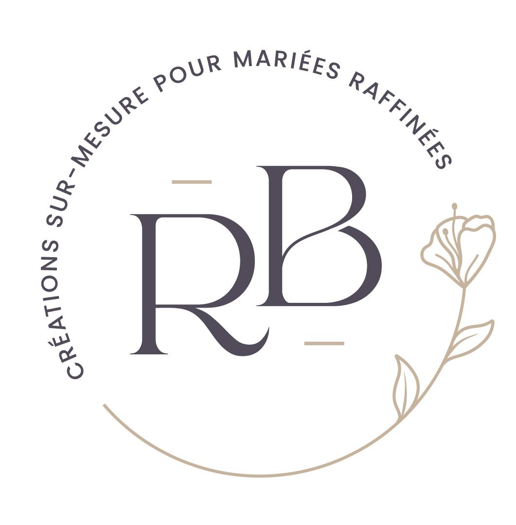 Déclinaison au format rond du logo de Rakel B, créations sur-mesure pour mariées raffinées