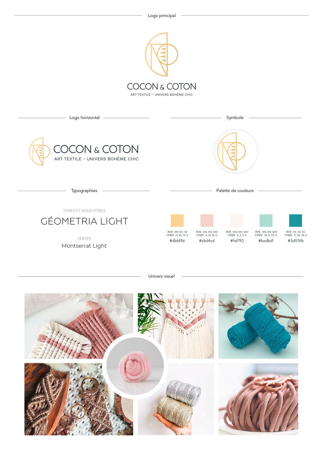 Charte graphique ou Brandboard de Cocon et coton, art textile et univers bohème chic