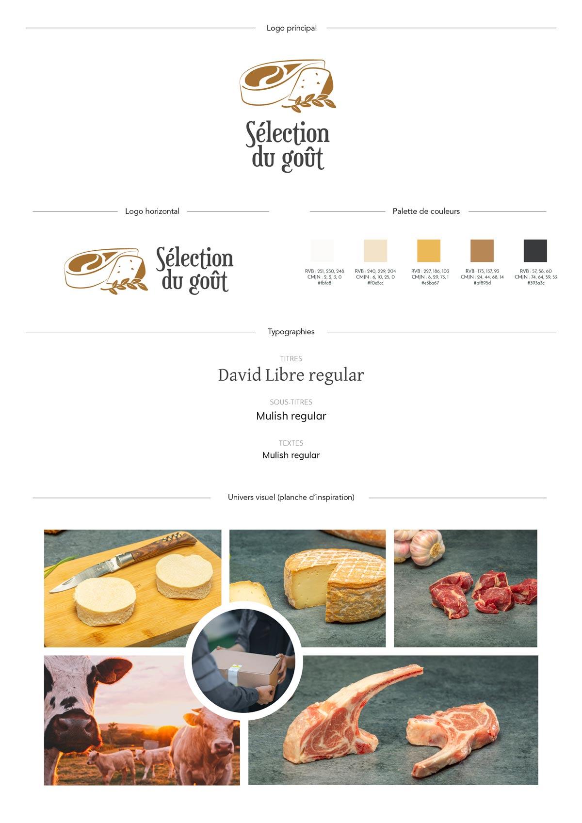 Charte graphique de l'entreprise Sélection du goût, avec sa palette de couleurs conviviale et lumineuse