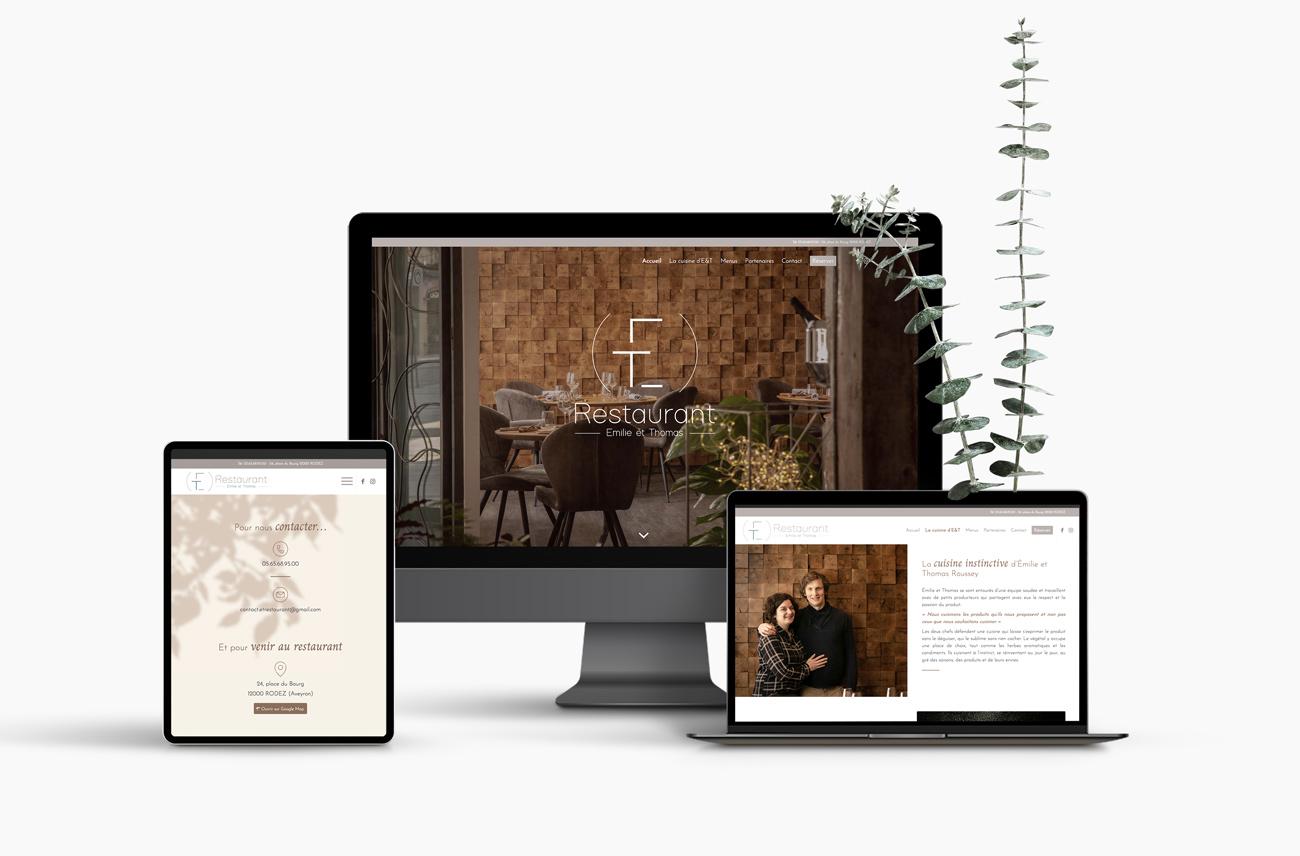 Webdesign et intégration du site vitrine du restaurant gastronomique ET à Rodez (Aveyron)