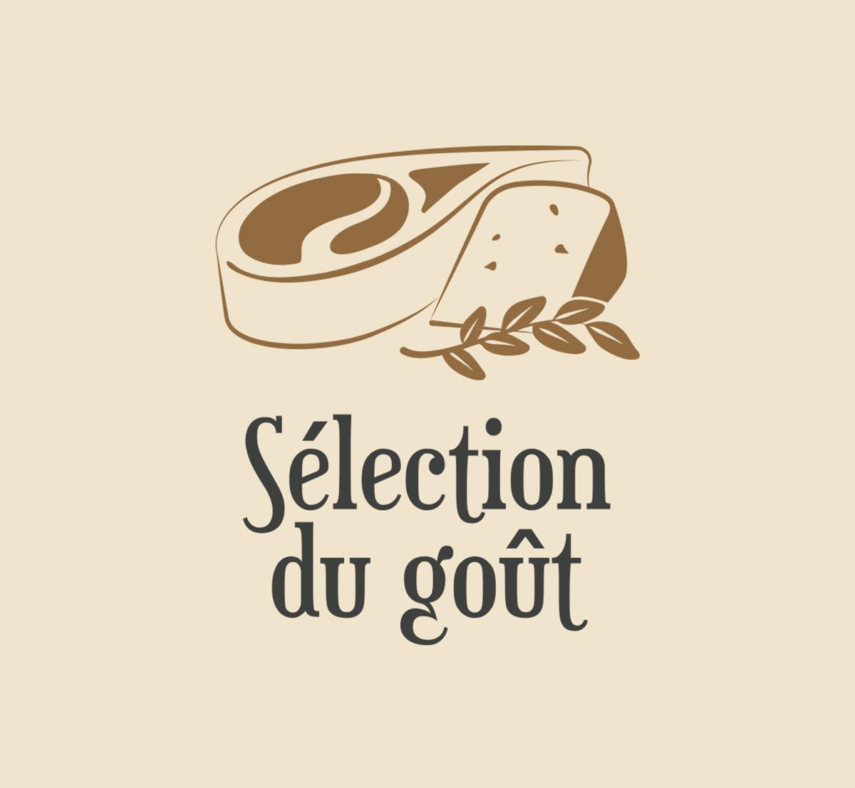 Déclinaison sur fond coloré du logo de Sélection du goût
