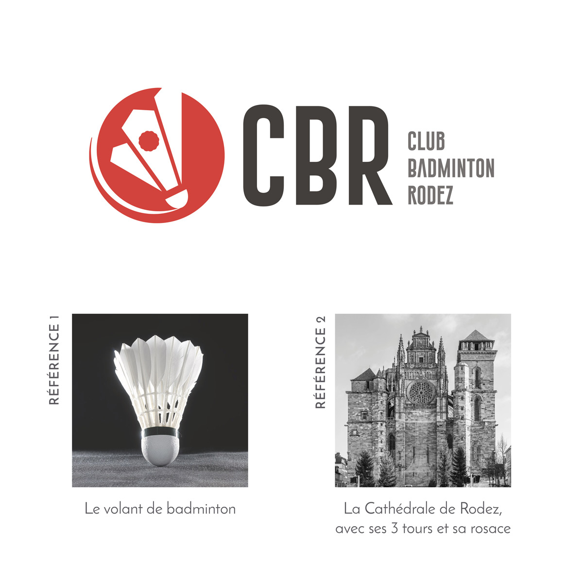 Un logo moderne et dynamique, faisant référence à la fois au badminton et à la ville de Rodez