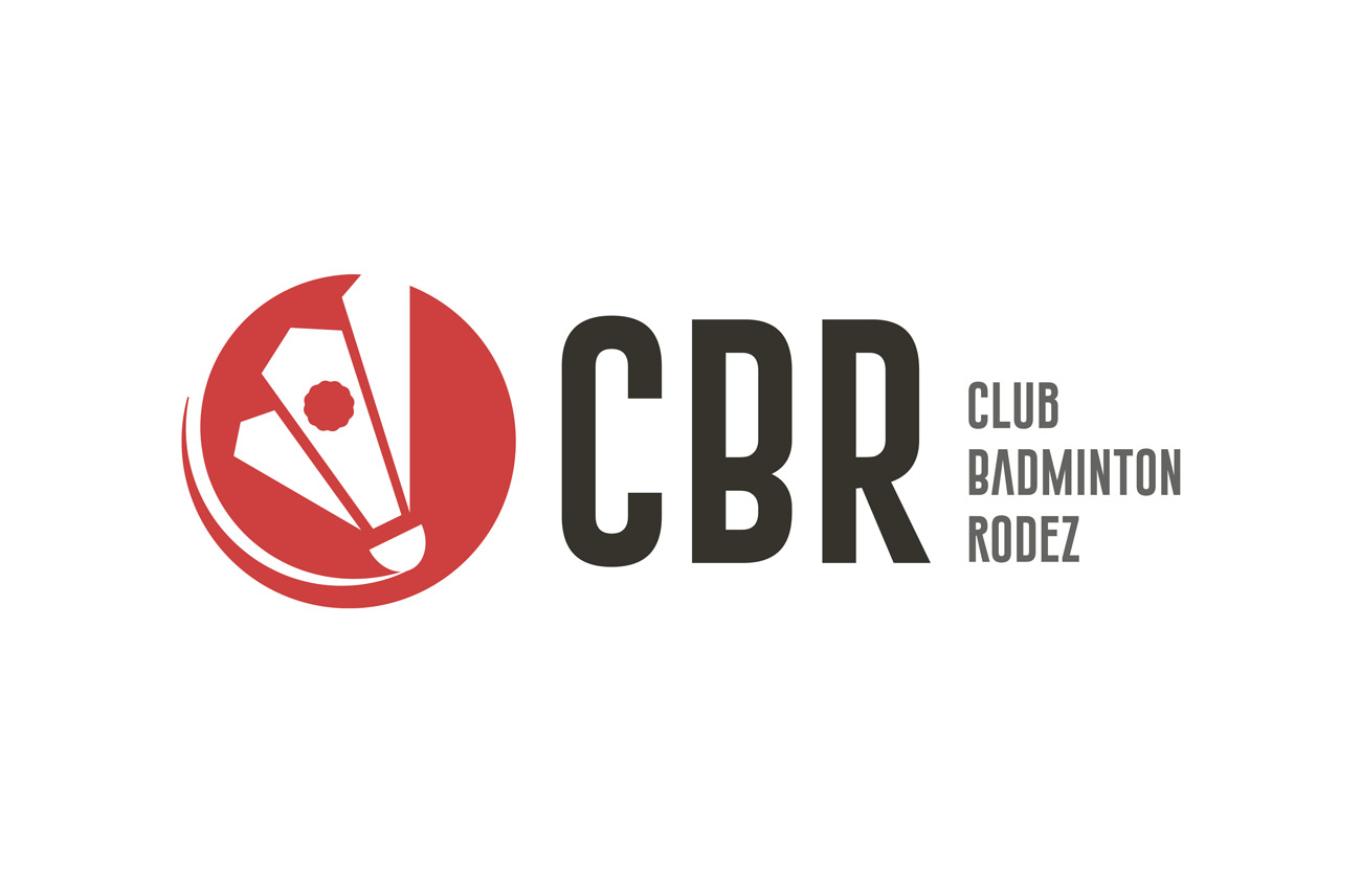Logo du Club de badminton de rodez, rouge et noir